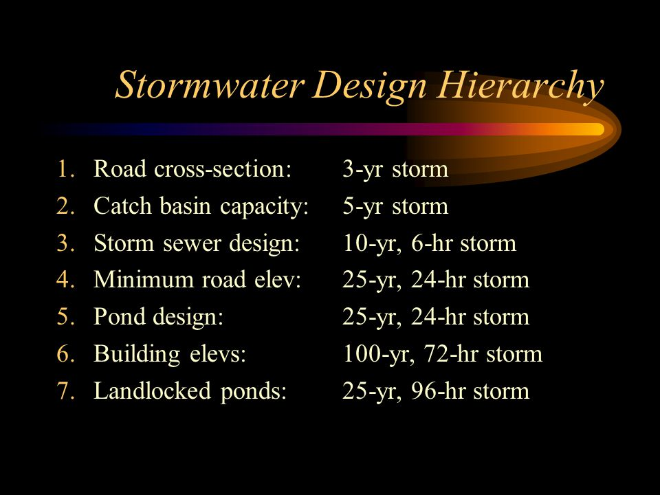 Stormwater Design Hierarchy 1.Road cross-section: 2.Catch basin capacity: 3.Storm sewer design: 4.Minimum road elev: 5.Pond design: 6.Building elevs: 7.Landlocked ponds: 3-yr storm 5-yr storm 10-yr, 6-hr storm 25-yr, 24-hr storm 100-yr, 72-hr storm 25-yr, 96-hr storm
