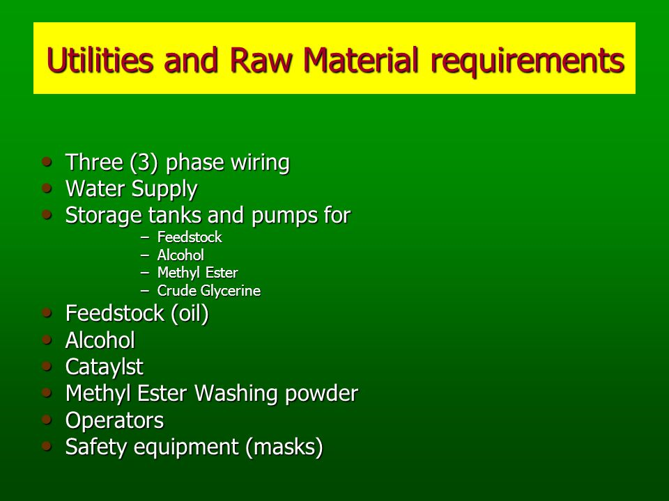 Utilities and Raw Material requirements Three (3) phase wiring Three (3) phase wiring Water Supply Water Supply Storage tanks and pumps for Storage tanks and pumps for –Feedstock –Alcohol –Methyl Ester –Crude Glycerine Feedstock (oil) Feedstock (oil) Alcohol Alcohol Cataylst Cataylst Methyl Ester Washing powder Methyl Ester Washing powder Operators Operators Safety equipment (masks) Safety equipment (masks)