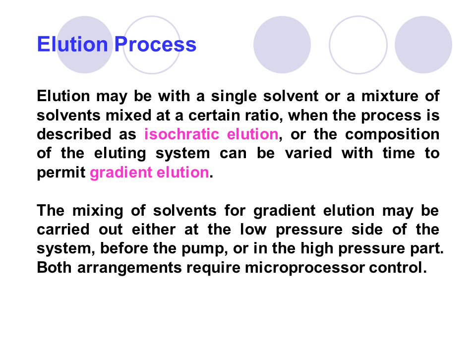 Elution may be with a single solvent or a mixture of solvents mixed at a certain ratio, when the process is described as isochratic elution, or the co