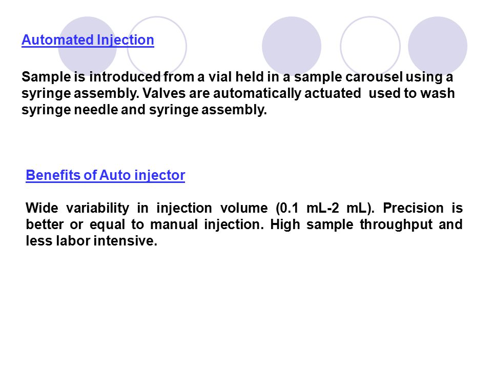 Automated Injection Sample is introduced from a vial held in a sample carousel using a syringe assembly. Valves are automatically actuated used to was