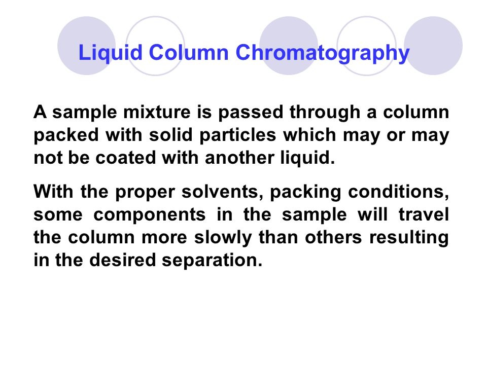 Liquid Column Chromatography A sample mixture is passed through a column packed with solid particles which may or may not be coated with another liqui