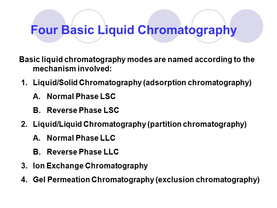 Basic liquid chromatography modes are named according to the mechanism involved: 1.Liquid/Solid Chromatography (adsorption chromatography) A.Normal Ph