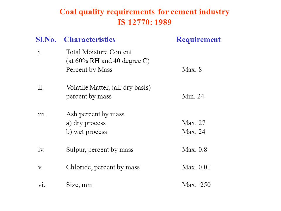 Coal quality requirements for cement industry IS 12770: 1989 Sl.No.CharacteristicsRequirement i.Total Moisture Content (at 60% RH and 40 degree C) Percent by Mass Max.