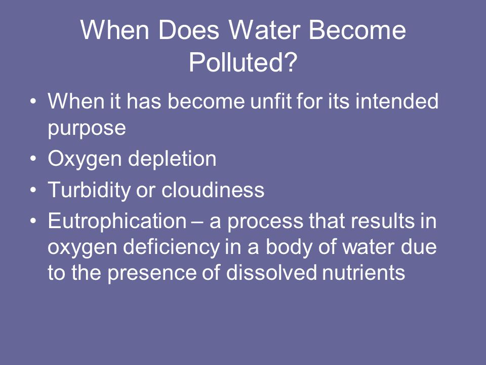 Causes of Eutrophication Natural phase in the maturation of a body of water Articially due to fertilizers, pesticides and detergents