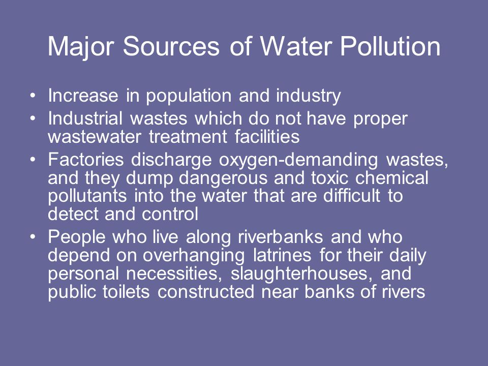 Types of Water Pollutants 1.