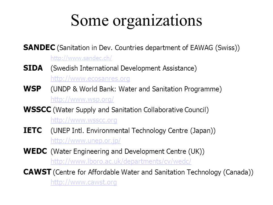 Some organizations SANDEC (Sanitation in Dev. Countries department of EAWAG (Swiss)) http://www.sandec.ch/ SIDA (Swedish International Development Ass