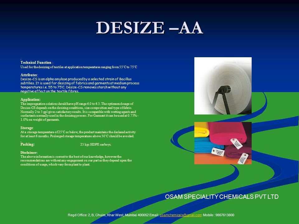 DESIZE –AA OSAM SPECIALITY CHEMICALS PVT LTD.