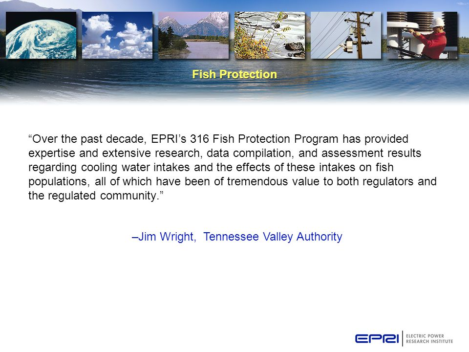 "Fish Protection ""Over the past decade, EPRI's 316 Fish Protection Program has provided expertise and extensive research, data compilation, and assessm"