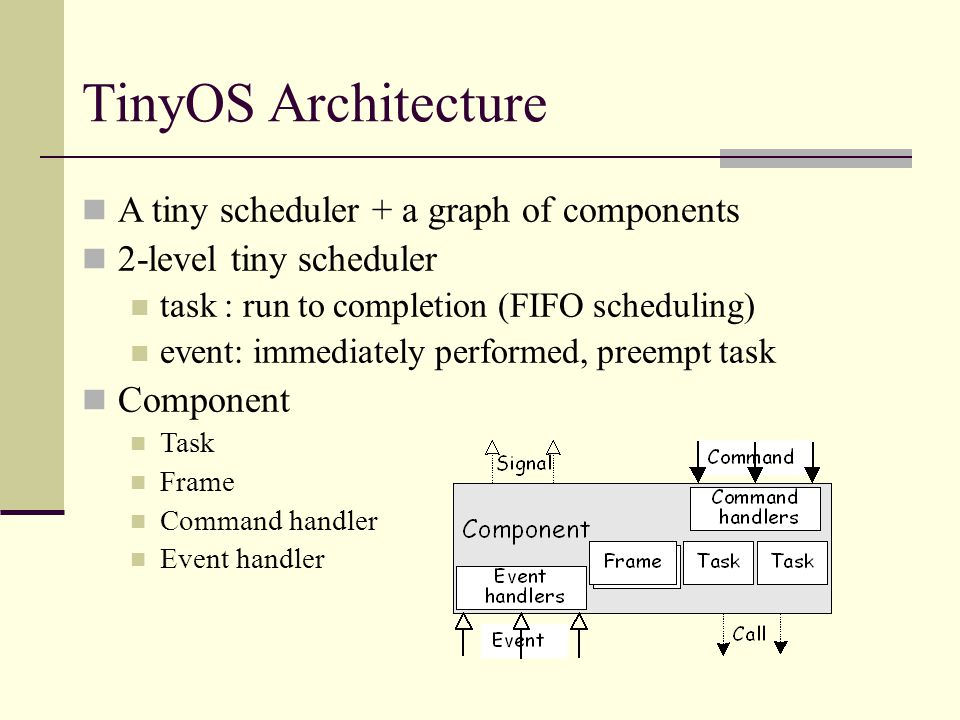 TinyOS Programming Model Event-driven execution no polling, no blocking Concurrency intensive operation multi-threads based, no long-running thread Co