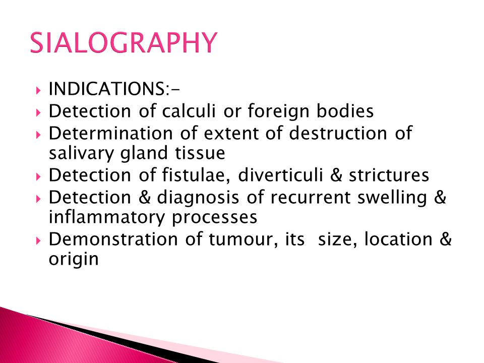  INDICATIONS:-  Detection of calculi or foreign bodies  Determination of extent of destruction of salivary gland tissue  Detection of fistulae, di