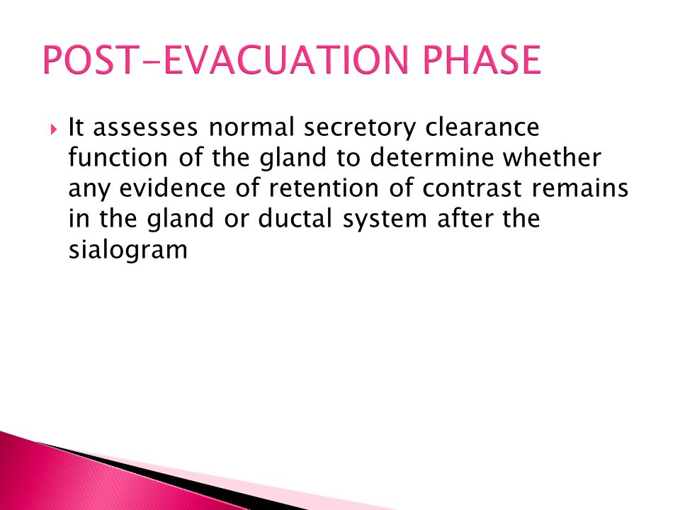  It assesses normal secretory clearance function of the gland to determine whether any evidence of retention of contrast remains in the gland or duct