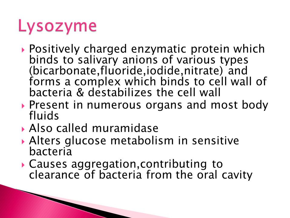  Positively charged enzymatic protein which binds to salivary anions of various types (bicarbonate,fluoride,iodide,nitrate) and forms a complex which