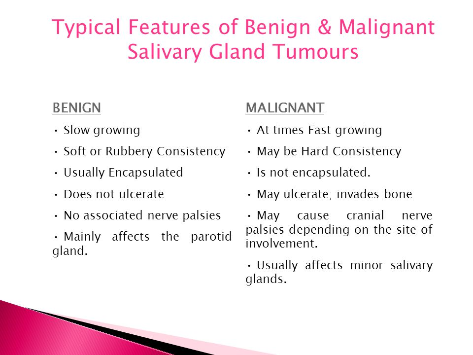Typical Features of Benign & Malignant Salivary Gland Tumours BENIGN Slow growing Soft or Rubbery Consistency Usually Encapsulated Does not ulcerate N