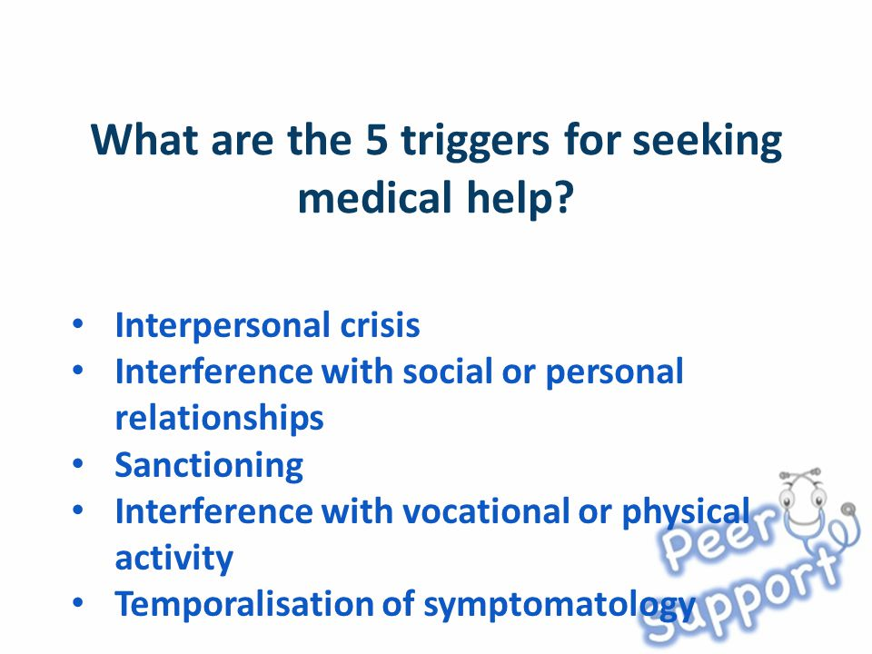 Interpersonal crisis Interference with social or personal relationships Sanctioning Interference with vocational or physical activity Temporalisation of symptomatology