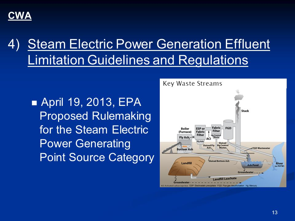 13 CWA 4)Steam Electric Power Generation Effluent Limitation Guidelines and Regulations April 19, 2013, EPA Proposed Rulemaking for the Steam Electric Power Generating Point Source Category Key Waste Streams