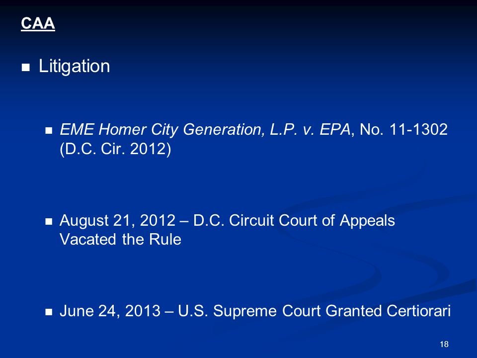 18 CAA Litigation EME Homer City Generation, L.P. v.