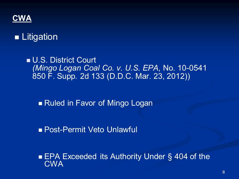 8 CWA Litigation U.S. District Court (Mingo Logan Coal Co.