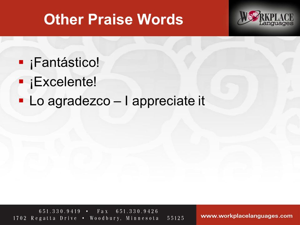 Other Praise Words  ¡Fantástico!  ¡Excelente!  Lo agradezco – I appreciate it