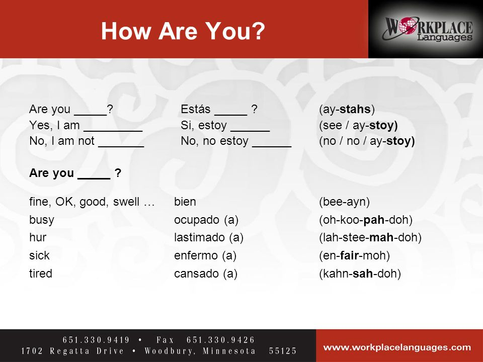 How Are You.Are you _____. Estás _____ .