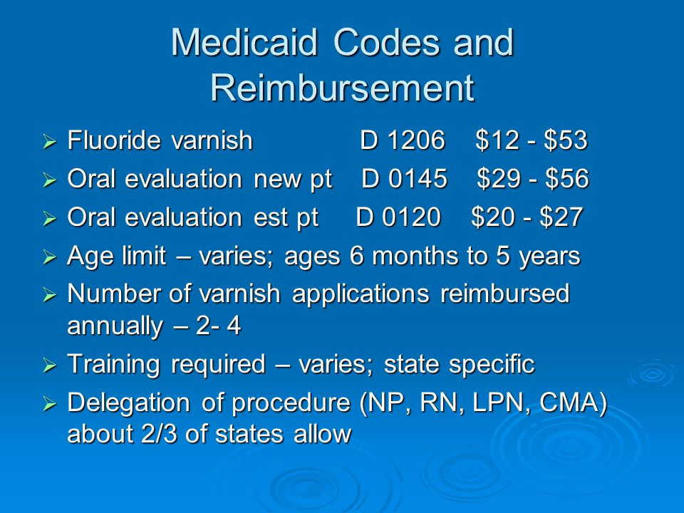 Medicaid Codes and Reimbursement  Fluoride varnish D 1206 $12 - $53  Oral evaluation new pt D 0145 $29 - $56  Oral evaluation est pt D 0120 $20 - $27  Age limit – varies; ages 6 months to 5 years  Number of varnish applications reimbursed annually – 2- 4  Training required – varies; state specific  Delegation of procedure (NP, RN, LPN, CMA) about 2/3 of states allow