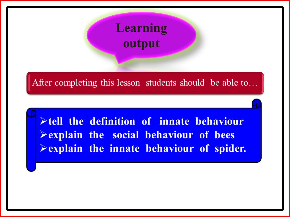 After completing this lesson students should be able to…  tell the definition of innate behaviour  explain the social behaviour of bees  explain the innate behaviour of spider.