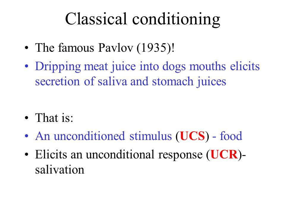 Classical conditioning The famous Pavlov (1935)! Dripping meat juice into dogs mouths elicits secretion of saliva and stomach juices That is: An uncon
