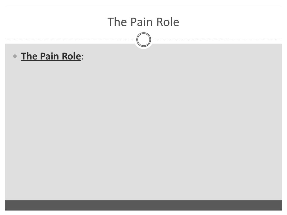 The Pain Role The Pain Role: