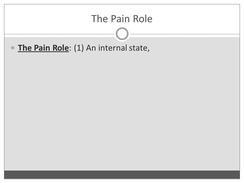 The Pain Role The Pain Role: (1) An internal state,