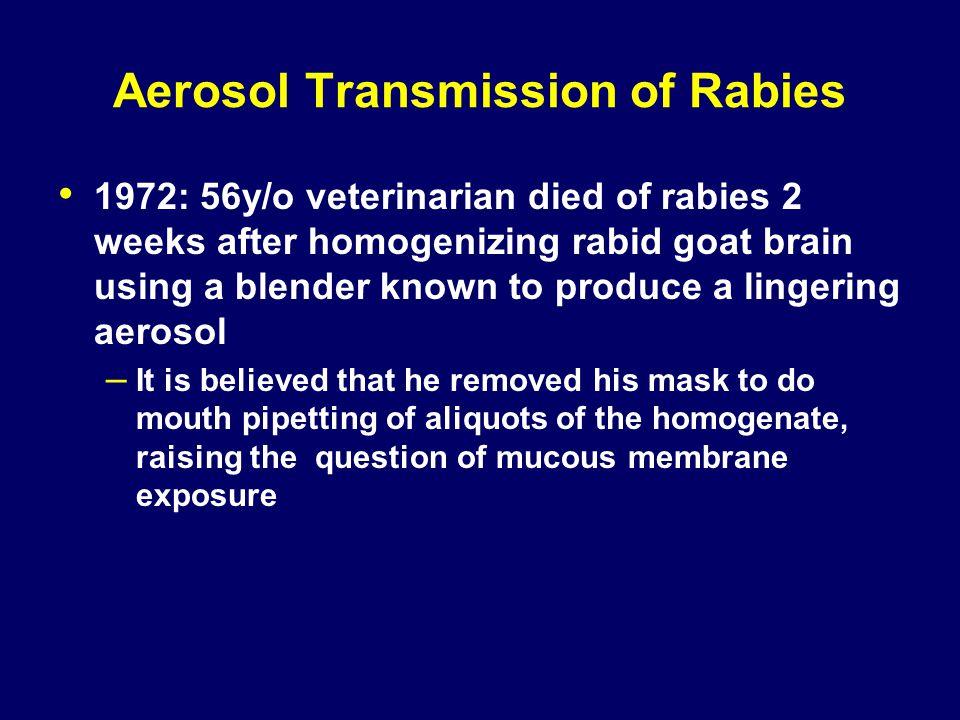 Aerosol Transmission of Rabies 1972: 56y/o veterinarian died of rabies 2 weeks after homogenizing rabid goat brain using a blender known to produce a
