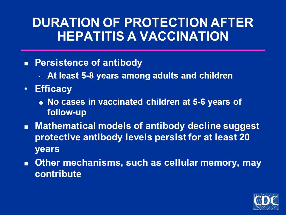 DURATION OF PROTECTION AFTER HEPATITIS A VACCINATION Persistence of antibody At least 5-8 years among adults and children Efficacy  No cases in vaccinated children at 5-6 years of follow-up Mathematical models of antibody decline suggest protective antibody levels persist for at least 20 years Other mechanisms, such as cellular memory, may contribute