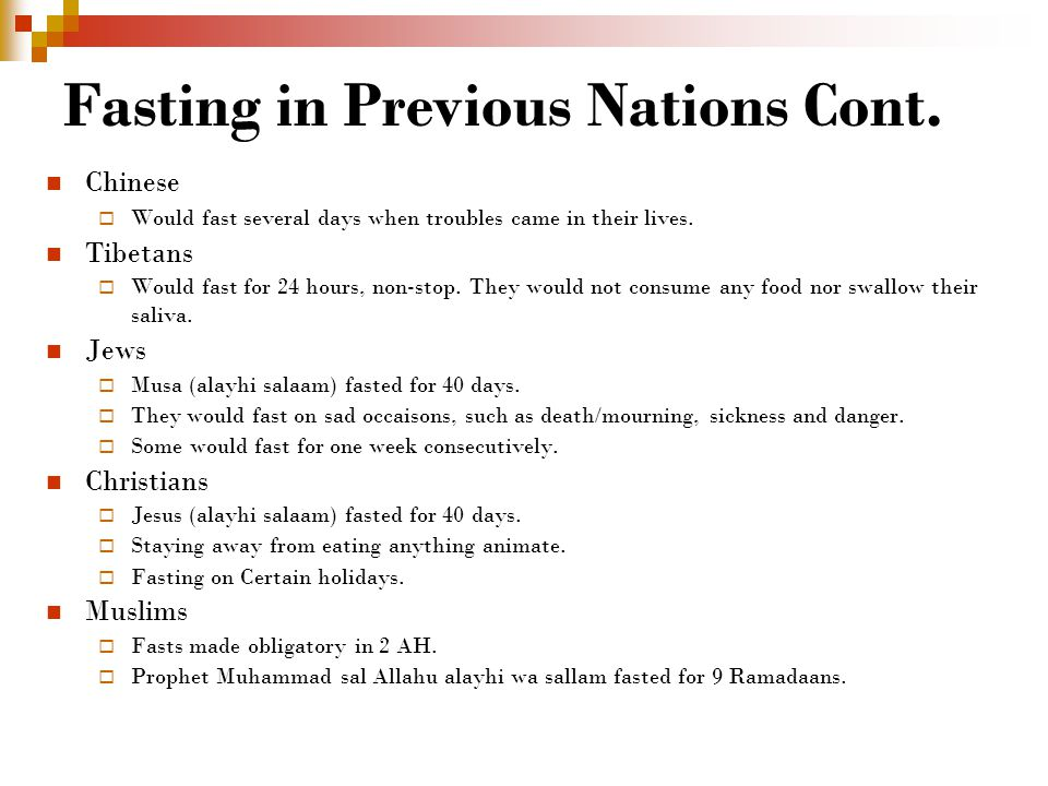 Fasting in Previous Nations Cont.