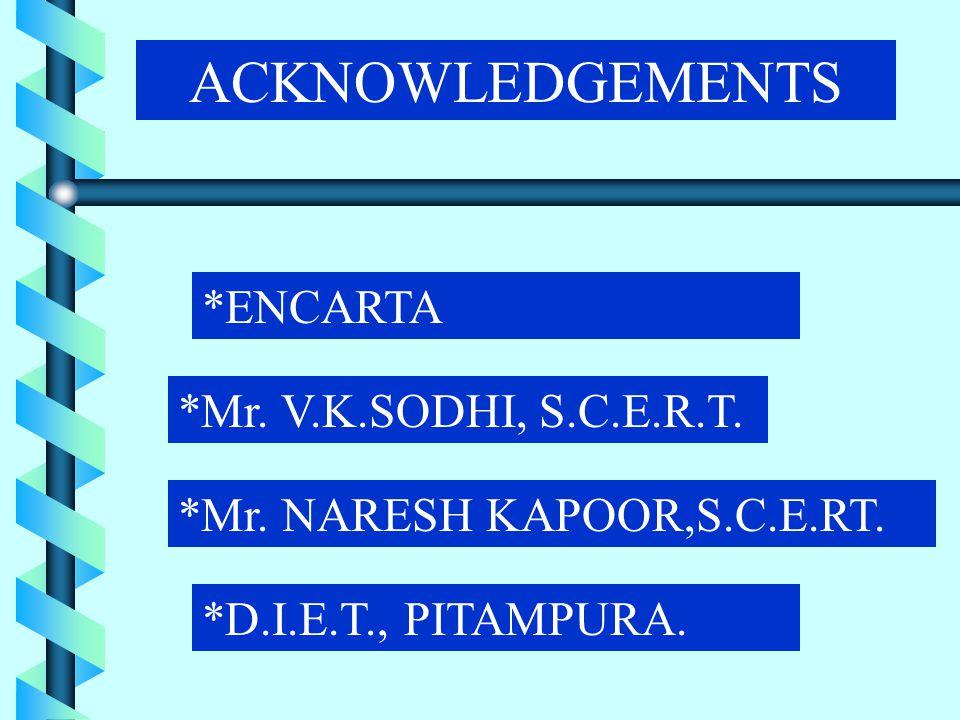 ACKNOWLEDGEMENTS *ENCARTA *Mr. V.K.SODHI, S.C.E.R.T.