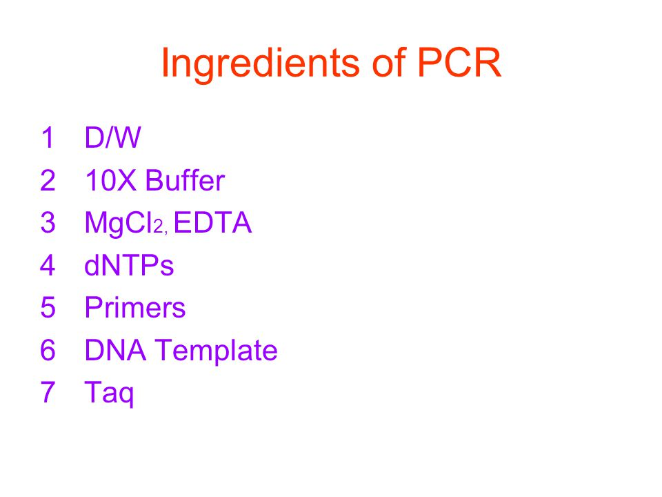 Ingredients of PCR 1D/W 210X Buffer 3MgCl 2, EDTA 4dNTPs 5Primers 6DNA Template 7Taq