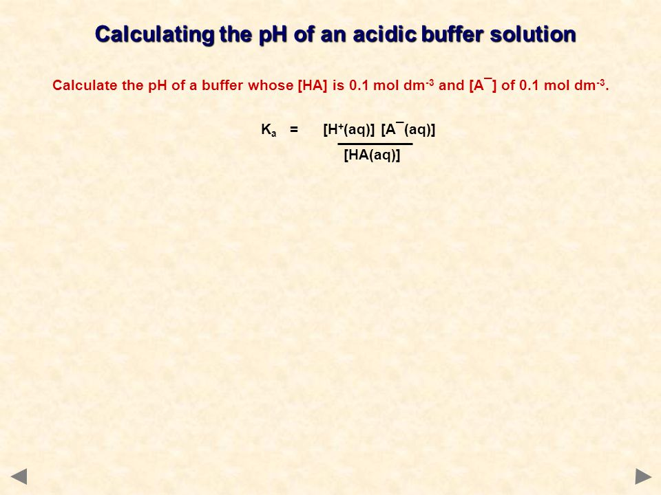 Calculating the pH of an acidic buffer solution Calculate the pH of a buffer whose [HA] is 0.1 mol dm -3 and [A¯] of 0.1 mol dm -3. K a = [H + (aq)] [