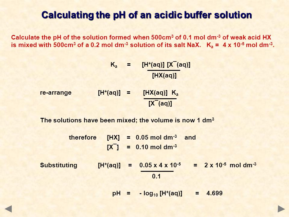 Calculating the pH of an acidic buffer solution Calculate the pH of the solution formed when 500cm 3 of 0.1 mol dm -3 of weak acid HX is mixed with 50