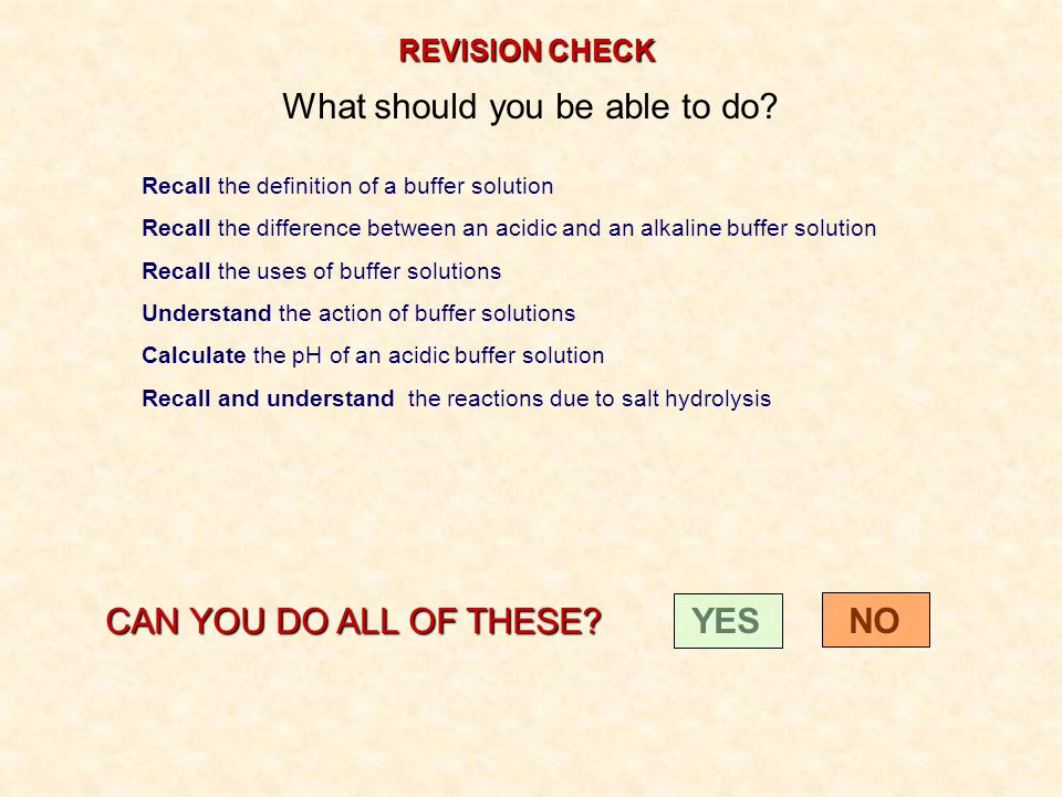 REVISION CHECK What should you be able to do? Recall the definition of a buffer solution Recall the difference between an acidic and an alkaline buffe
