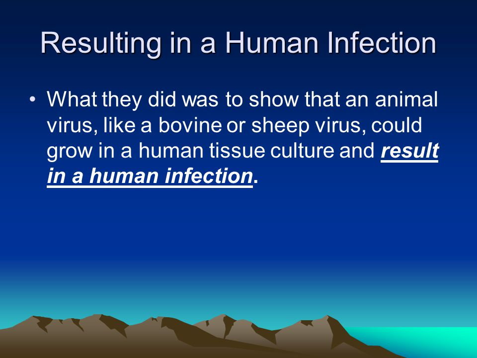 Resulting in a Human Infection What they did was to show that an animal virus, like a bovine or sheep virus, could grow in a human tissue culture and result in a human infection.