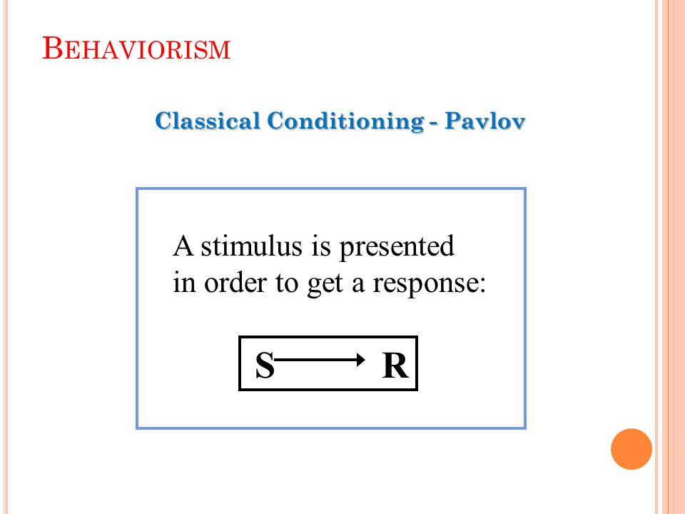 Classical Conditioning (Ivan Pavlov) Several types of learning exist.