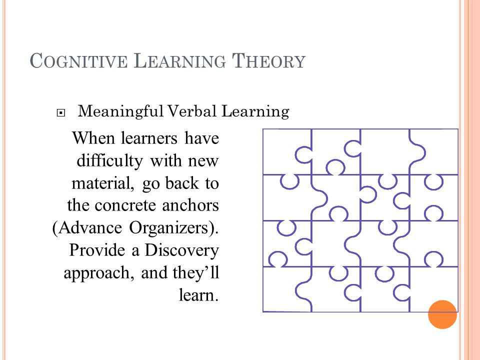 C OGNITIVE L EARNING T HEORY  Meaningful Verbal Learning Advance Organizers: Newmaterial is presented in a systematic way, and is connected to existing cognitive structures in a meaningful way.