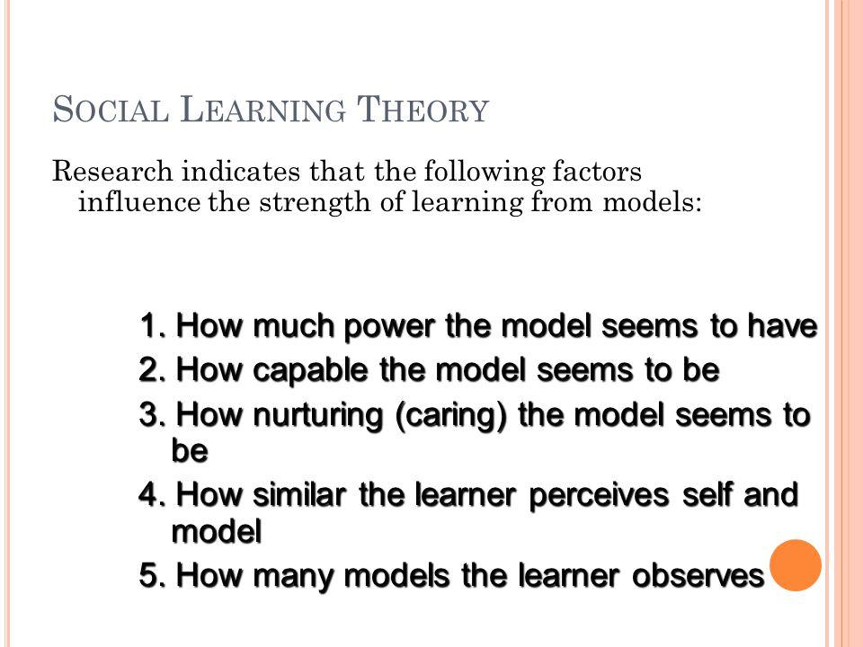 S OCIAL L EARNING T HEORY Learning From Models - Albert Bandura 1.