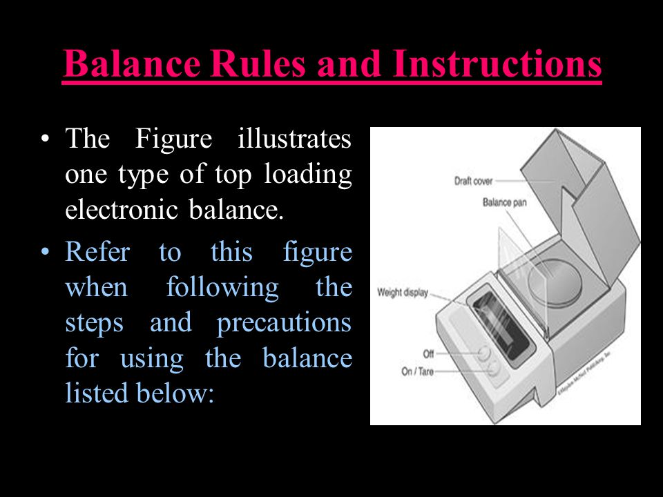 Balance Rules and Instructions The Figure illustrates one type of top loading electronic balance.