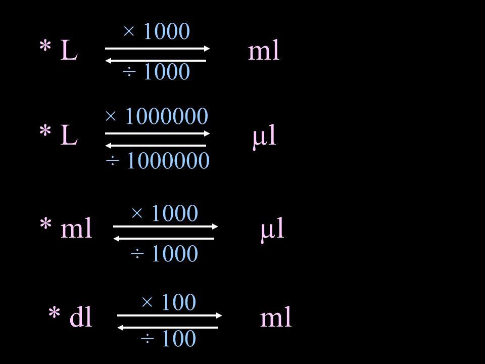 × 1000 * Lml ÷ 1000 × 1000000 * Lµl ÷ 1000000 × 1000 * mlµl ÷ 1000 × 100 * dlml ÷ 100