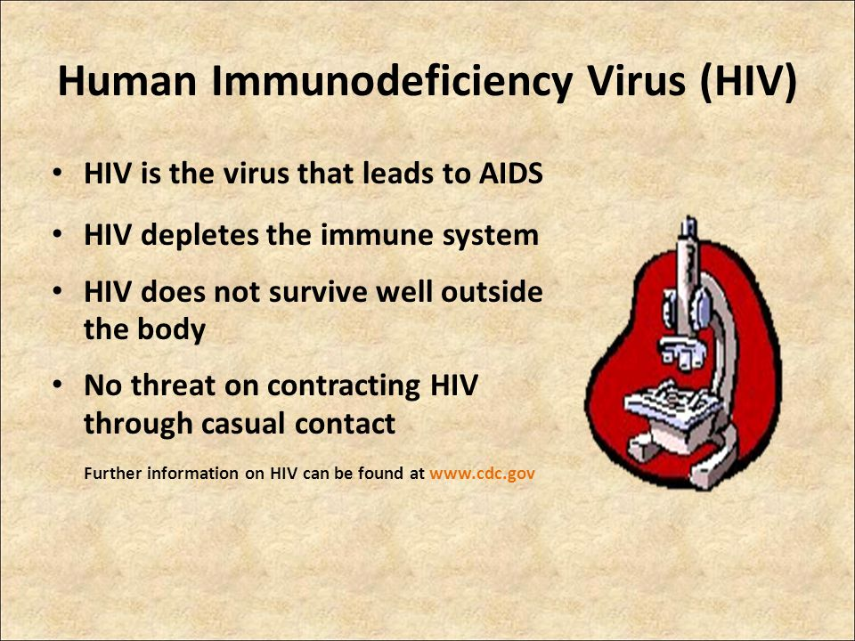 HIV is the virus that leads to AIDS HIV depletes the immune system HIV does not survive well outside the body No threat on contracting HIV through casual contact Further information on HIV can be found at www.cdc.gov