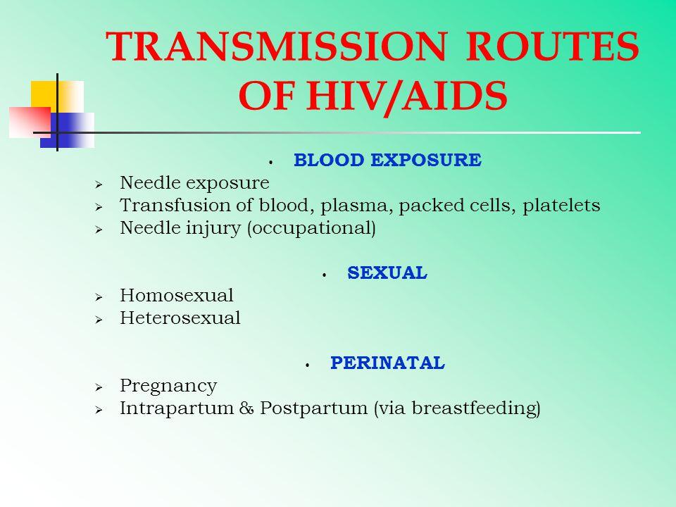 TRANSMISSION ROUTES OF HIV/AIDS BLOOD EXPOSURE  Needle exposure  Transfusion of blood, plasma, packed cells, platelets  Needle injury (occupational) SEXUAL  Homosexual  Heterosexual PERINATAL  Pregnancy  Intrapartum & Postpartum (via breastfeeding)
