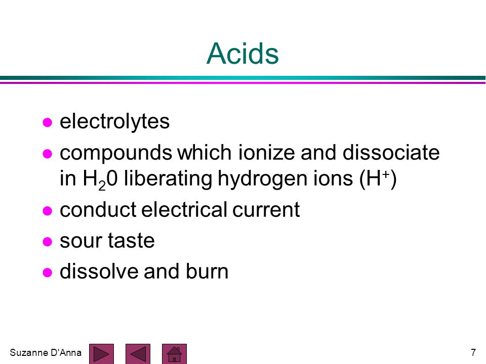Suzanne D Anna8 Bases l electrolytes l any molecule which can combine with hydrogen ions l proton (H+) acceptors l help maintain stable pH of body fluids l bitter taste, feel slippery l Example: - sodium bicarbonate