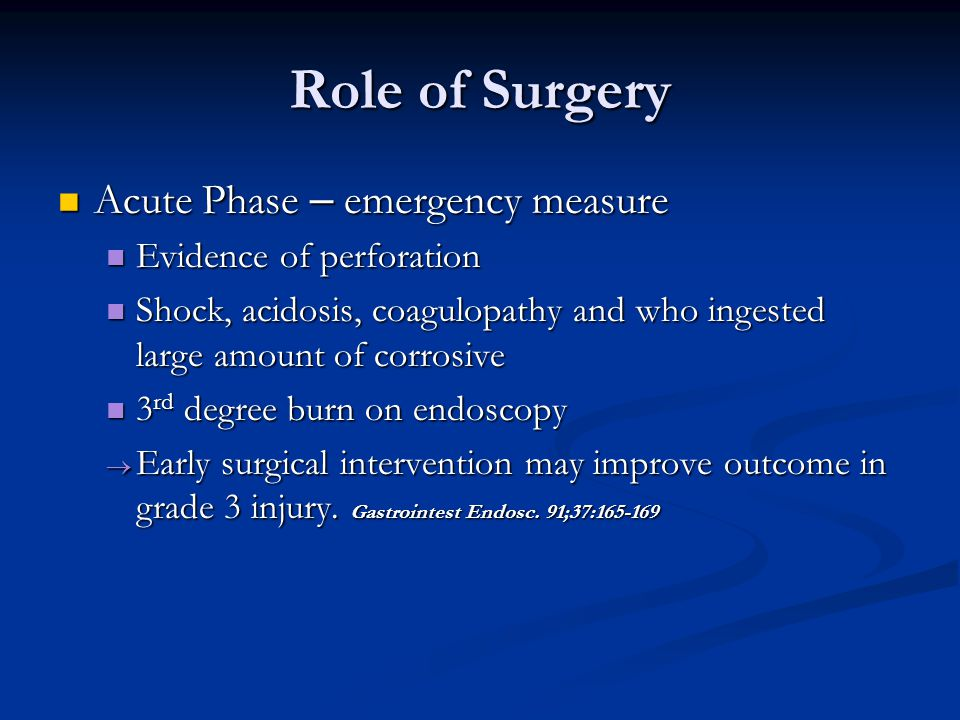 Role of Surgery Acute Phase – emergency measure Acute Phase – emergency measure Evidence of perforation Evidence of perforation Shock, acidosis, coagu