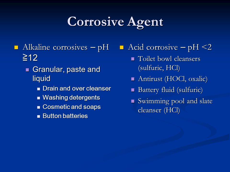 Corrosive Agent Alkaline corrosives – pH ≧ 12 Alkaline corrosives – pH ≧ 12 Granular, paste and liquid Granular, paste and liquid Drain and over clean