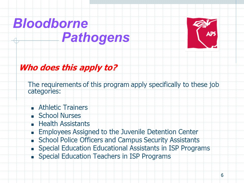 6 Bloodborne Pathogens Who does this apply to.