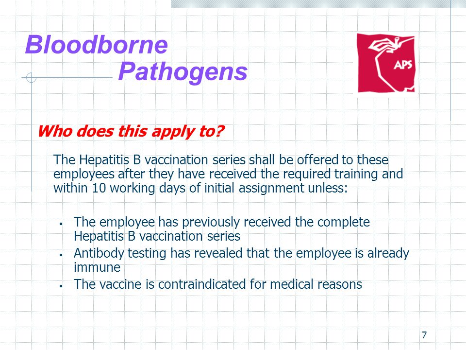 7 Bloodborne Pathogens Who does this apply to.