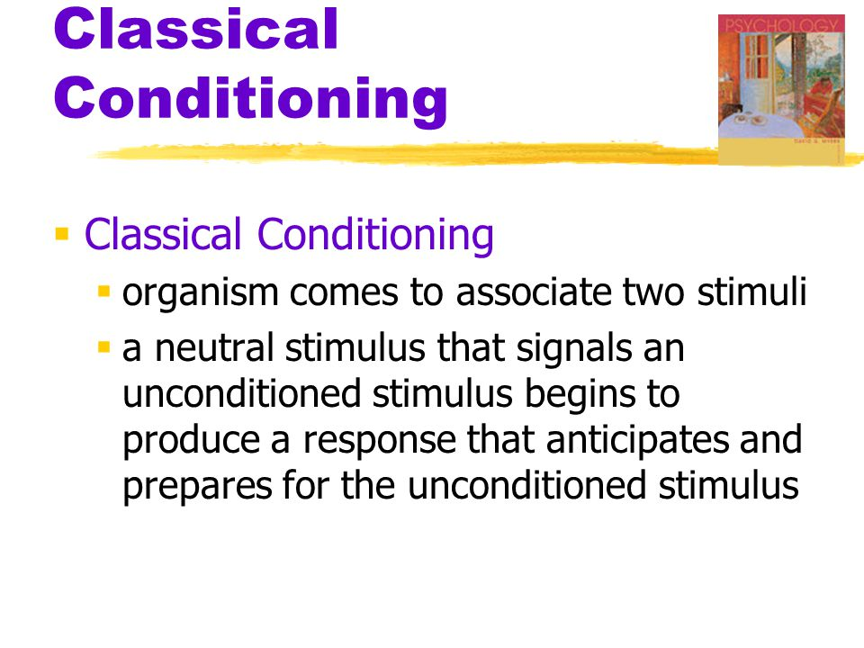 Classical Conditioning  Classical Conditioning  organism comes to associate two stimuli  a neutral stimulus that signals an unconditioned stimulus begins to produce a response that anticipates and prepares for the unconditioned stimulus